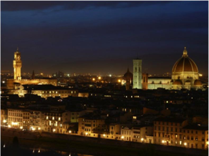 Vista nocturna de ciudad